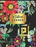 4 Column Ledger: Pretty Floral Accounting Ledger Books : Accounting Ledger Sheets, General Ledger Accounting...