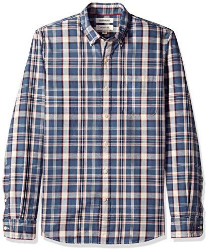 Goodthreads Slim-Fit Long-Sleeve Pattern Chambray Shirt Camicia, Blu (Denim Plaid Dpl), US (EU XS)