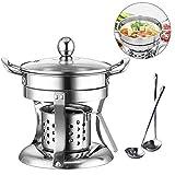 Shabu Shabu Hot Pot,Chinese Hot Pot Dish, Noodles Cooker at Home Thick Safe Mini Fondue Pot for Camping, Party, Dorm Room
