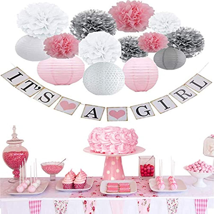 Adam Goods Girl Baby Shower Decorations, It is a Girl Banners,Lantern Pom Poms