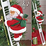 Climbing Christmas Electric Santa Claus Climbing Ladder Doll Decoration Home Door Wall Decoration, Red