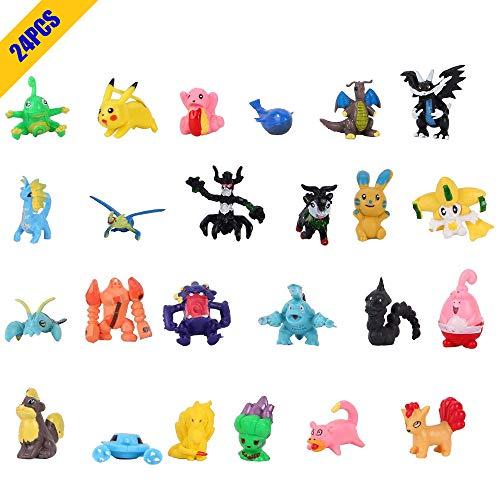 OMZGXGOD Pokemon Monster Spielzeugfigur, Mini Pokemon Actionfiguren, Pokemon Figur gehören Pikachu, Charmander, Squirtle Kinder(24 Stück) (24)