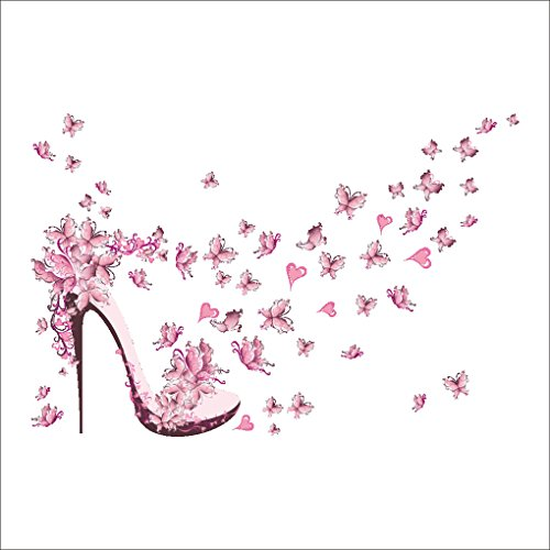 LUFADIY rosa hochhackige Schuhe Schmetterlings-Wand-Aufkleber abnehmbares Kunst-Dekor für Hauptdekoration