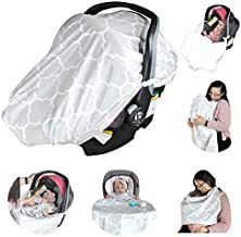 7 in 1 Baby Car Seat Canopy I Nursing Cover I Shopping Cart Cover I Stroller Blanket I Baby Carrier Cover I Bib & Highchair Cover I Playmat (Grey)
