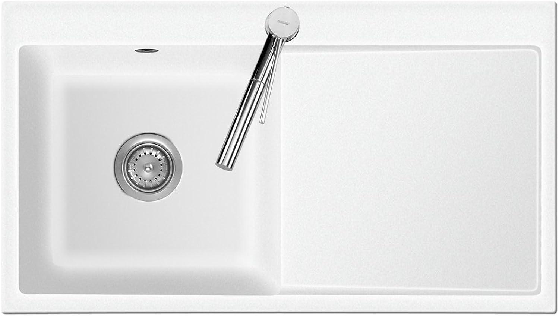 Flchenbündige Spüle MERA 90 Polar mit Becken links und Handbettigung