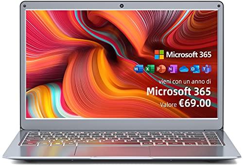 Jumper 13.3 Pollici Notebook, Microsoft 365 PC Portatile, 4GB RAM 64GB ROM, Windows 10 Laptop, Intel Celeron CPU, USB 3.0 Bluetooth 4.2 Espandibile fino a 1TB SSD+256GB TF, 2.4G/5G WiFi