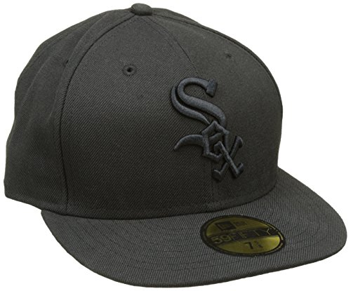 New Era 59Fifty Casquette de Baseball pour Adulte MLB Basic NY Yankees Chicago White Sox 59FIFTY Noir sur Noir Taille : 56 cm