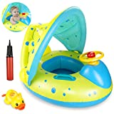 joylink Flotador para bebé, 6-36 Meses Flotador Anillo de Natación Bebé Swim Ring Inflable Piscina Flotador Bebé con Toldo Ajustable Parasol Protección UV