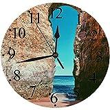 Reloj de Pared Moderno,Pared Algarve Paisaje Hito Playa Lagos Portugal Castillo Gran Cielo Parques Naturales Entrada Exreloj de Cuarzo de Cuarzo Redondo No-Ticking para Sala de Estar 30 cm
