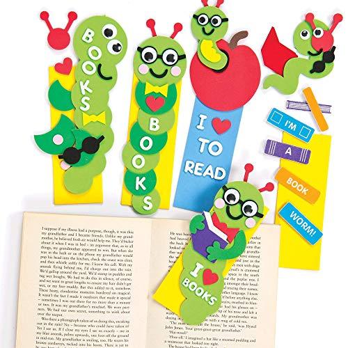 """Baker Ross Lesezeichen-Bastelsets """"Bücherwurm"""" - für Kinder zum Basteln - Geschenkidee - 4 Stück"""
