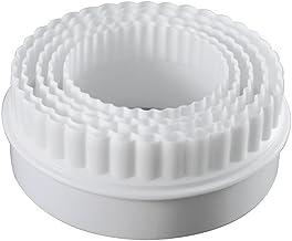 """4 """"قطاعة بسكويت دائرية الشكل مجموعة من 5 قطع بلاستيك أبيض من توبينكا سابلايز"""