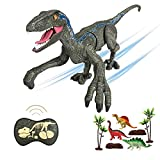 Remote Control Dinosaur Toys for Kids Boys Girls 3 4 5 6 7 8 Years Old 2.4Ghz RC Robot Toy LED Lightup Walking Roaring Touch Control Simulation Velociraptor Jurassic Dino Rechargeable Blue …