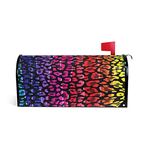 Wamika Leoparden-Schal mit farbigem Briefkasten, wetterfest, magnetisch, verblasst Nicht, wetterfest, Regenbogen-Tierhaut, dekorative Briefkasten-Wickeltasche, 64,7 x 52,8 cm