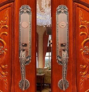 K6838 # Luxurious Mortise Lock Entry Entrance Front Door Handle Lockset (Double Door, Red Antique Bronze)