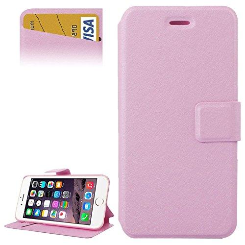 1XINGCHEN Cáscara del teléfono Textura de Seda Horizontal Flip Funda de Cuero con Ranuras for Tarjetas y Soporte for el iPhone 6 Plus y Plus 6S Funda Protectora (Color : Pink)