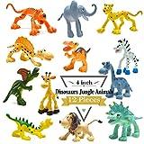 BigNoseDeer 4 Pulgadas Figuras de Dinosaurio de Dibujos Animados con Animales de Bosque Conjunto, 12 Piezas de Animales y Dino Partido favores Juguetes