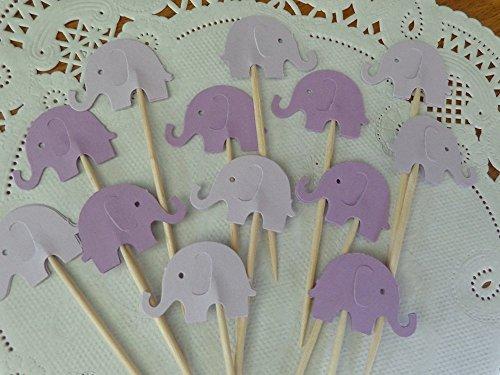 Lilac Purple and Lavender Purple Elephant Cupcake Toppers - Food Picks - Purple Elephants - Party Picks - Baby Shower Appetizer Picks (Set of 24)