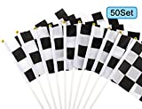 U_star 50 Pieces Checkered Flags 8 x 5.5 Inch Racing Flag Hand Held Stick Flags, Checkered Flag Race Car Flags,Checkered Racing Flag,Checkered Flag Party Supplies,Black & White
