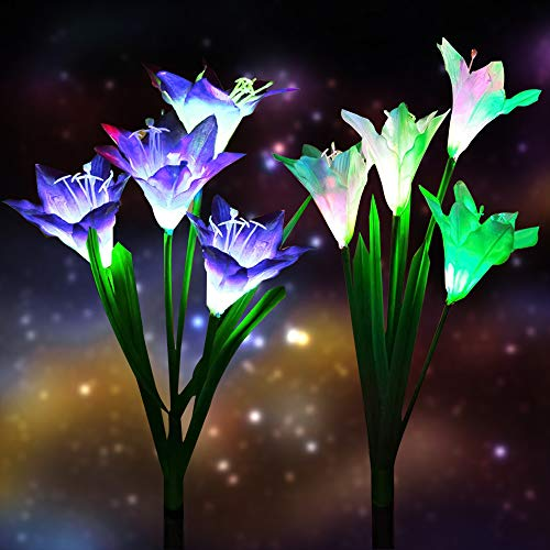 Homearda Outdoor Solar Lights, 2 Pack Solar Garden Lights with 8 Bigger Lily Flowers, Waterproof 7 Color Changing, Long Working Time-Bigger Solar Panel for Garden,Patio,Yard Decoration(White&Blue)