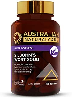 Australian NaturalCare - Sleep & Stress - St. John's Wort 2000 Vitamin Tablets for Relief of Nervous Tension, Mild Anxiety & Restlessness (60 Tablets)