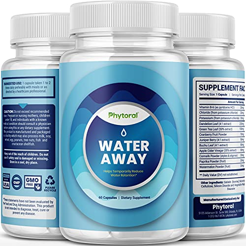 Natural Diuretic Water Away Pills - Herbal Diuretic Water Pills Water Retention and Balance Support Urinary Tract Health and Full Body Cleanse with Dandelion Leaf Extract Green Tea and Vitamin B6