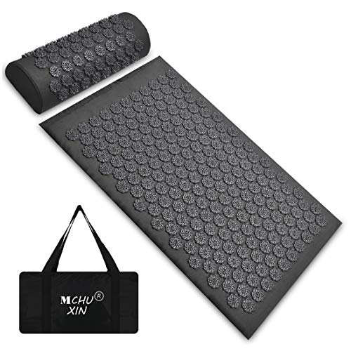 Acupressure Mat and Neck Pillow Set Back and Neck Pain ReliefInclude Yoga Acupuncture Mat  Pillow  Backpack for Relieves StressSciaticInsomniaTrigger Relaxation Therapy