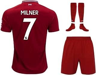 ZXAOYUAN Milner #7 Kids/Youths Home Soccer Jersey & Short & Socks Kit Red