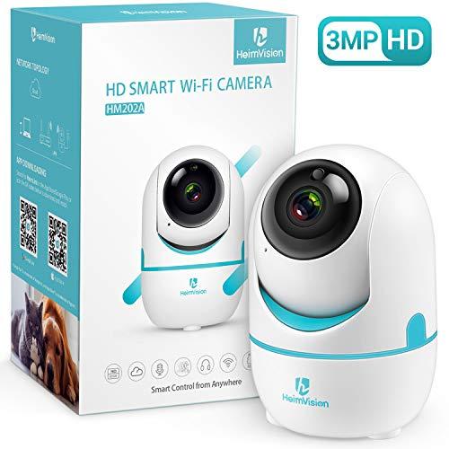 HeimVision Draadloze camera voor binnen, 3MP bewakingscamera, 360 graden draaibaar, HD babyfoon met nachtzicht, babycamera met bewegingsdetectie, 2-wegs audio, indoor camera voor baby/huisdier/thuis, wit