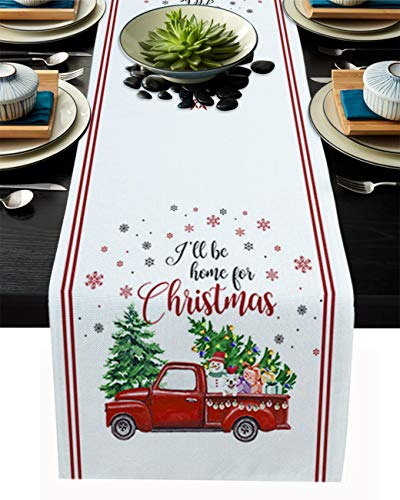 Durable Cotton Linen Table Runner - 18'x72', Farmhouse Table Runner for Wedding Banquet Decoration Indoor/Outdoor Table Runner - I'll Be Home for Christmas Christmas Tree Truck and Snowflakes