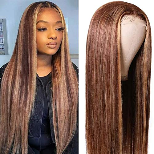 UNice Hair Silk Base Fake Scalp Ombre Highlight Middle Part Wigs for Black Women, Brazilian Straight Human Hair T-Part Lace Closure Wig Pre Plucked with Baby Hair 150% Density 16inch