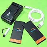 (AceSoft Battery Combo Pack) 2X 3500mAh Battery Universal Wall Quick Charger USB 3.1 Reversible Data Cable Cord Stylus for Microsoft Lumia 950 AT&T Smartphone