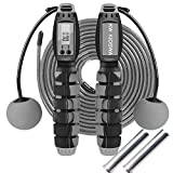KW KIDSWA Smart Weighted Jump Rope, Mi Km and Calories Digital Counter Jumping Rope, Two Modes with Rope or Cordless, Adjustable Weighted Jump Rope Workout for Men Women Children (Black and Gray)