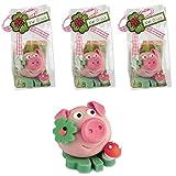3 Glücksschweine auf Kleeblatt aus Marzipan (3 Stück á 37g)