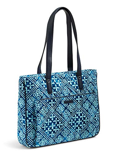 Vera Bradley Quilted Signature Cotton Commuter Tote (One Size, Blue/Cuban Tiles)