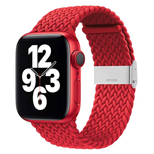 Firsteit Compatible con Apple Watch Trenzado Solo Loop Band 44 mm, 42 mm, 40 mm, 38 mm, ajustable y elástico con cierre de acero inoxidable para iWatch Series 6/5/4/3/2/1/SE (42 mm/44 mm, rojo)