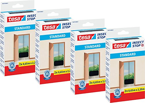 Tesa Moustiquaire standard pour portes, anthracite transparent, 2 x 0, Einzeln, Anthrazit - 4er Pack, 1