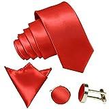 GASSANI 3-SET Krawattenset, 8,5Cm Breite Hell-Rote Herren-Krawatte Schmal Manschettenknöpfe Ein-Stecktuch, Bräutigam Hochzeitskrawatte Glänzend