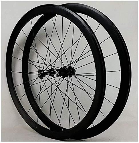QQJK Super Light Road Racing Bike Ensemble de roues avant et arrière 700C 40 mm Roue à disque Roue libre Roue libre 7 8 9 10 11 12 vitesses 1890 g
