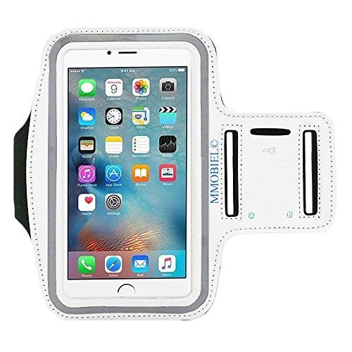 MMOBIEL Brazalete/Pulsera Deportiva compatible con iPhone 12 (mini)/12 Pro /11/11 Pro (Max)/X/XR/XS/8(+)/7(+) Samsung S20/S10(+)/Note 10 (Noir) 6.2 pulg. (Blanca) Neopreno Ultra Ligero Tira reflejante