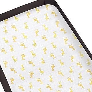 aden by aden + anais Pack 'n Play Playard Crib Sheet; 100% Cotton Muslin; Super Soft; Breathable; Snug Fit Safari Babes- Giraffe