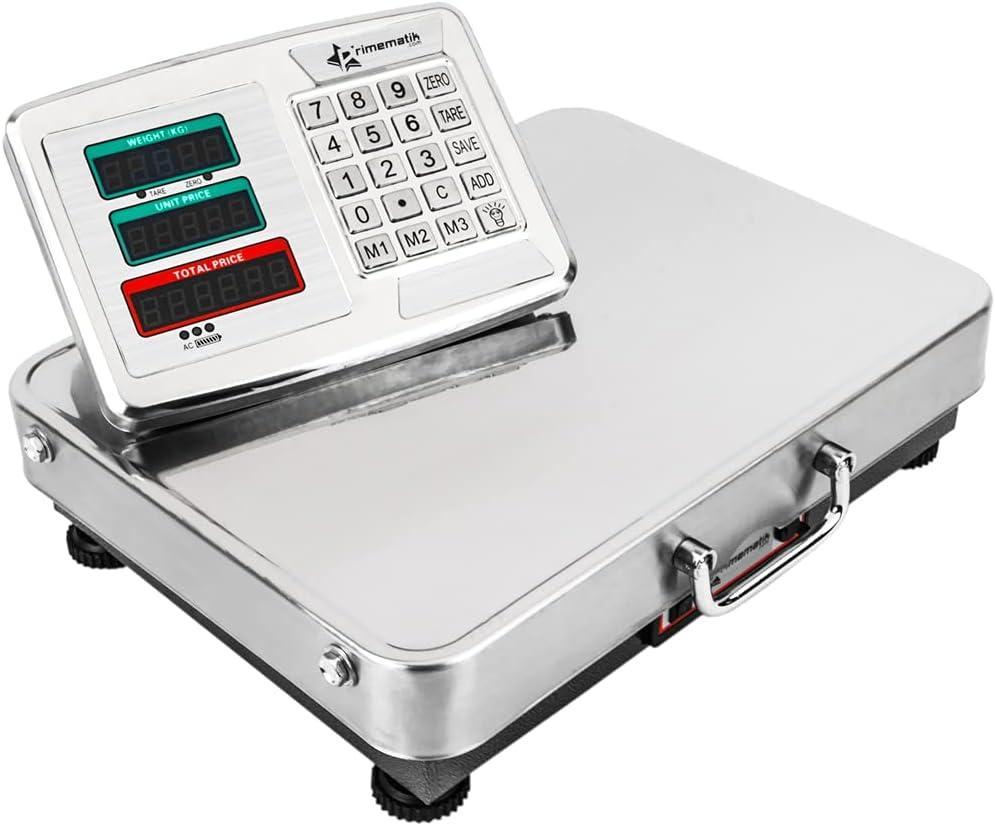 PrimeMatik - Balanza Industrial de Plataforma 42x32 cm. Báscula portátil de Acero Inoxidable 150 Kg