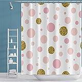 OFila 183 x 183 cm gepunkteter Duschvorhang Modern Chic Gold Pink Polka Dots Doodle Elegantes Muster Wasserdicht Polyester Leicht zu pflegen für Zuhause Wohnheim Badezimmer Dekor Badewanne