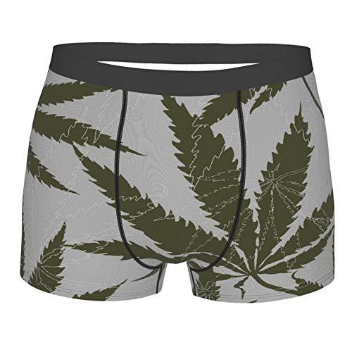 Popsastaresa Männerunterwäsche,Muster mit Blättern von Hanf, Marihuana, Haschisch, Marihuana-Blatt, Cannabis-Pflanze, Boxershorts Atmungsaktive Komfortunterhose Größe M