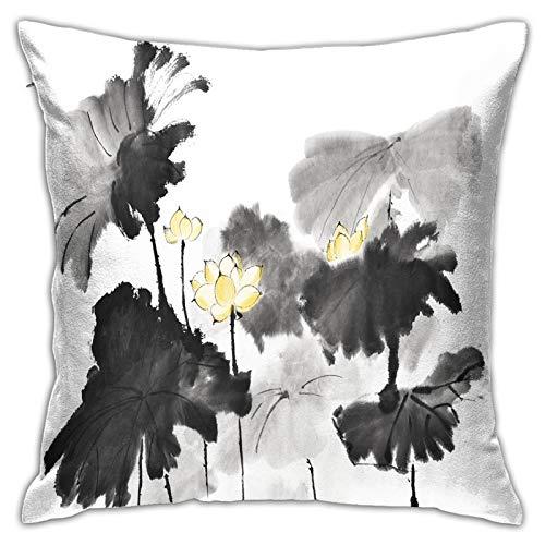 Gggo Cuadrado Funda de Almohada Dibujos de Estilo Chino bocetos lotuswater Lily Fundas de cojín para Sala de Estar sofá, Dormitorio, decoración 50x50cm
