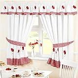 Homespace Direct Tende da Cucina con fermatende, Ricamate, con Pieghe a Matita, a Tema Floreale di Papaveri e con Tessuto a Quadretti, Colore Rosso, Tessuto, Red, 46 x 48-inch