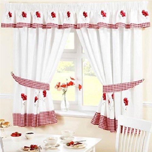 Homespace Direct Rideaux de Cuisine plissés à Motif Floral brodé - Bordure et embrasses à Carreaux Rouges, Tissu, Rouge/Blanc, 46 x 48-inch