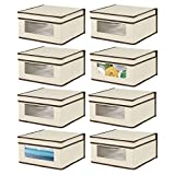 mDesign Soft Stackable Fabric Closet Storage Organizer Holder Bin with Clear Window, Attached Lid - for Home Office, Den, Hallway, Entryway - Textured Print, 8 Pack - Cream/Espresso