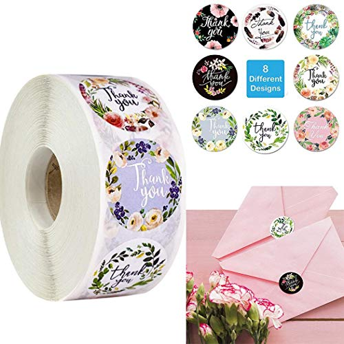 Sunywear 500Pcs/Roll Floral Label Stickers for Birthday Gift Packaging Envelope Label Labels Stickers