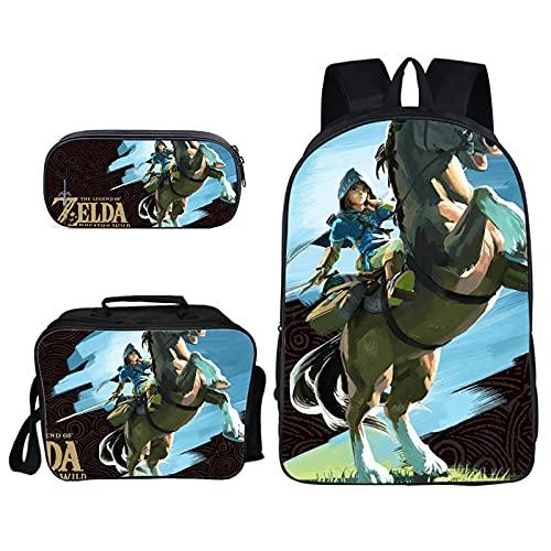 Mochila escolar Zelda 3 unids/lote The Legend Of Zelda Fashion Bag The Legend Of Zelda Fashion Bag Mochila para niños Bolsa de almuerzo Mochila escolar Anime Mochila estacionaria