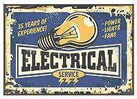 金属錫サインヴィンテージサイン装飾アート8 x 12インチ電気サービスメンテナンスレトロサイン黄色12 x 8インチ